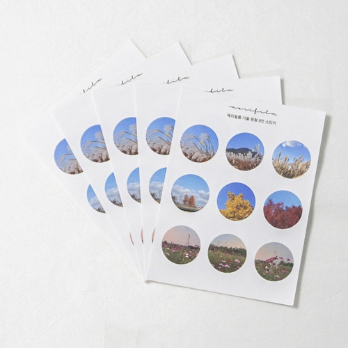 Meri Film Autumn circle paper stickers set of 5 sheets