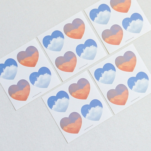 Meri Film Sky and Cloud heart paper sticker set