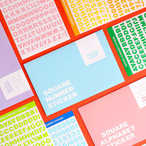 Wanna This Square Alphabet Number paper sticker set