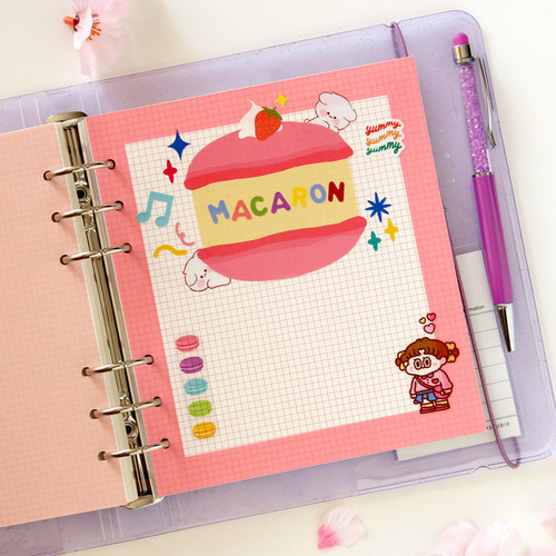 Jam Studio Color wide A6 6 ring grid note paper refill set