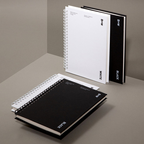 Ardium B+W wire bound hardcover lined notebook