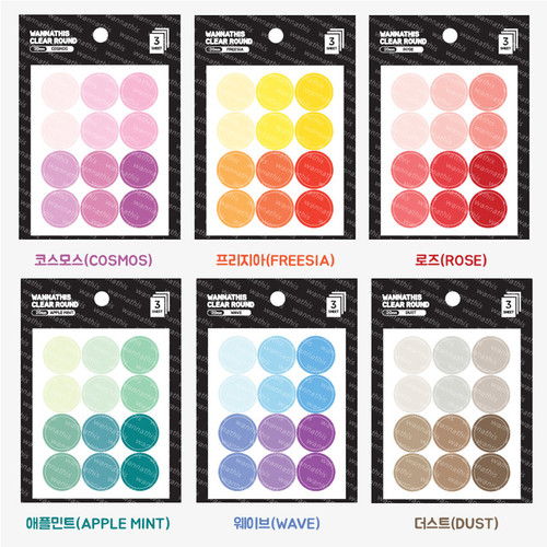 Round clear 20mm sticker set of 3 sheets