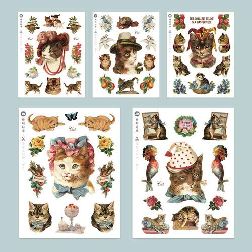 Cat self-cut paper and clear sticker set