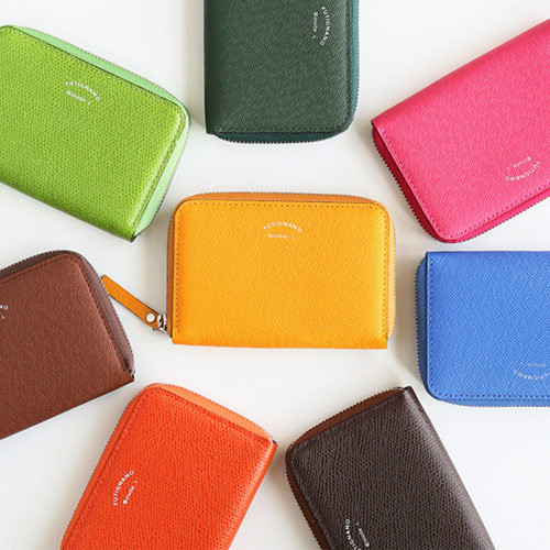Leather zipper card pouch case