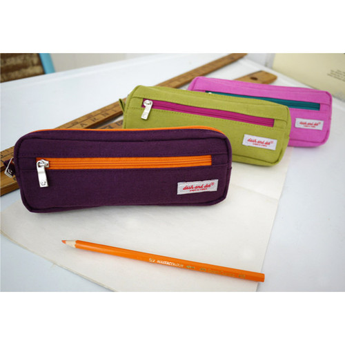 Linen two zipper pockets pencil case