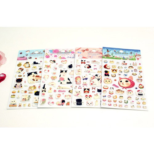 Choo Choo cat marshmallow embossing sticker
