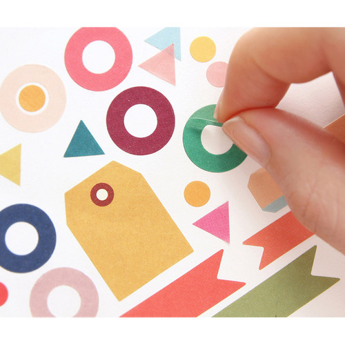 Petit deco basic paper sticker set 8 sheets