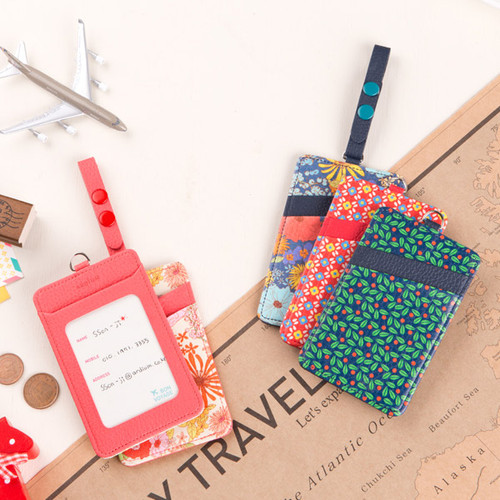 Flower pattern travel luggage name tag with card pocket