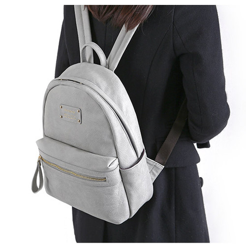Light gray - Wanna be professional leather small backpack