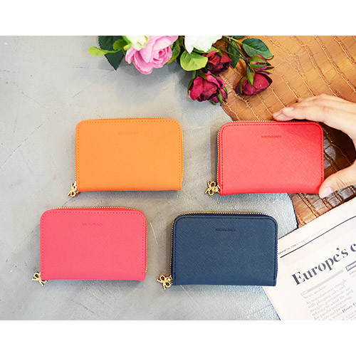 Lovely ribbon zip around wallet case