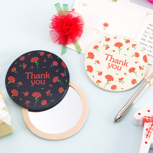 Flower pattern thank you pocket round handy mirror