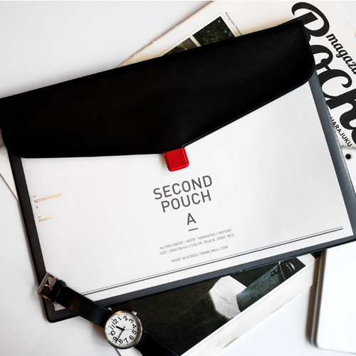 Black - Second pocket file folder pouch