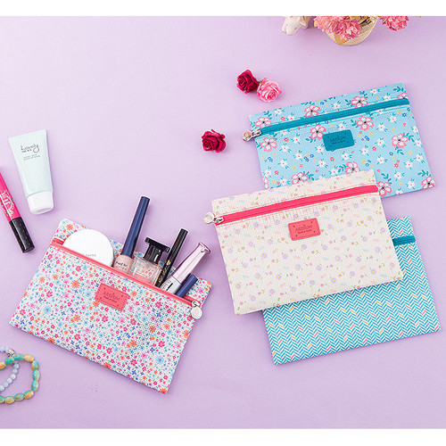 Summer pattern flat zipper pouch small
