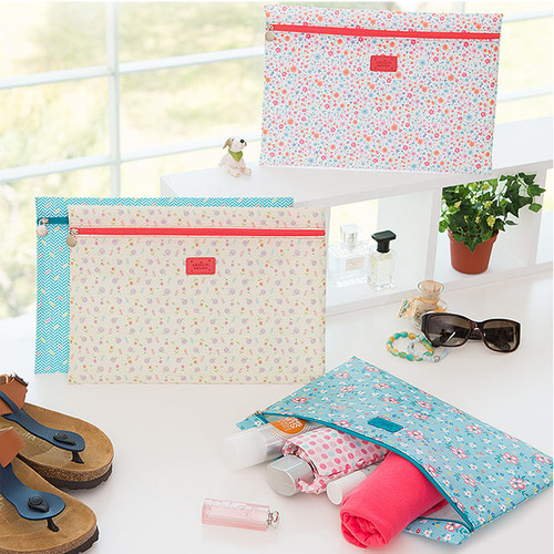 Summer pattern flat zipper pouch large