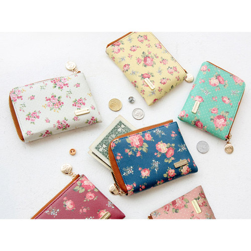 Pour vous flower pattern half zip around wallet