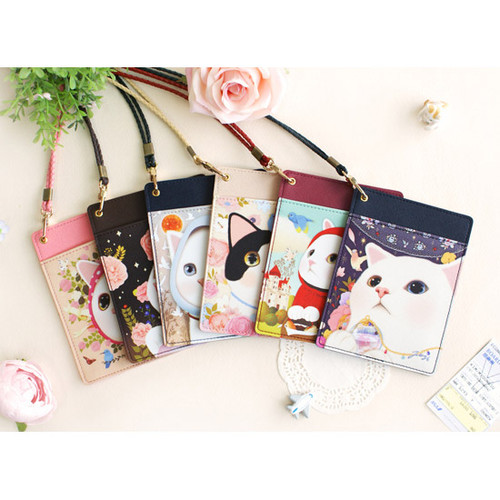 Choo Choo cat flat passport holder with neck strap