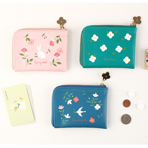 Piyo cute pattern zipper card case