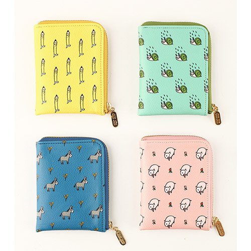 Jam Jam cute pattern half zip around card wallet