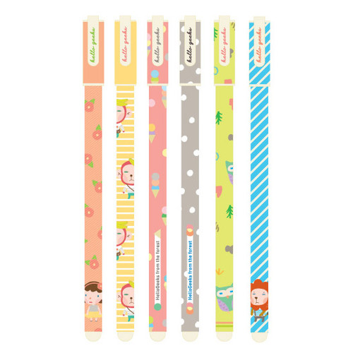 Hellogeeks cute illustration pattern black gel pen