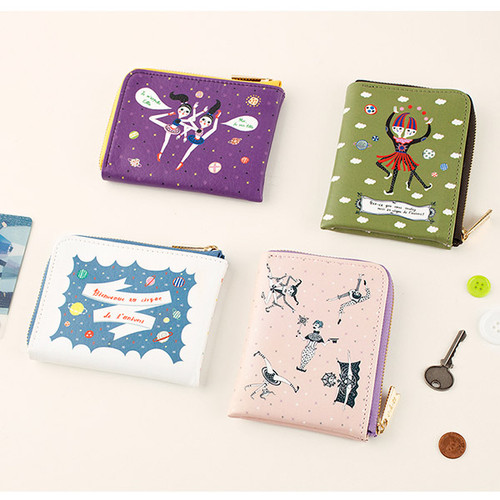 Circus in the universe hallf zip around card wallet