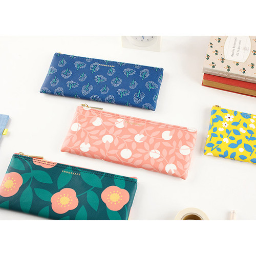 Promenade flower pattern wide zipper pouch