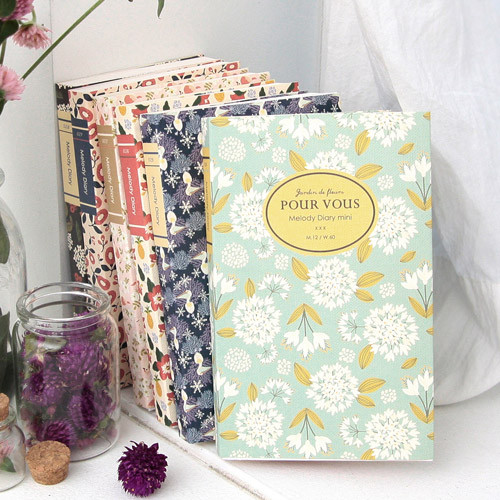 2015 Pour vous flower melody undated small diary