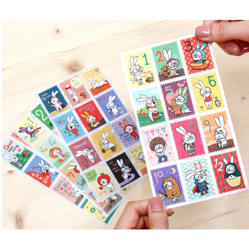 Cute character deco stamp sticker set