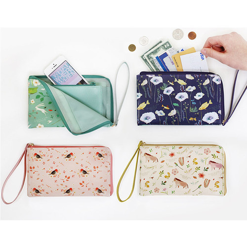 Willow story illustration pattern half zip around clutch
