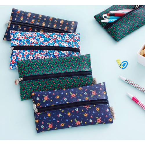 Pattern middle zipper slim pouch