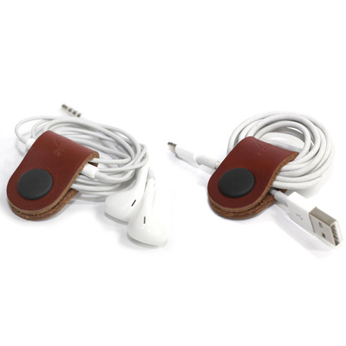 leather brown earphone organizer