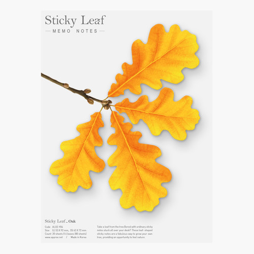 Oak leaf yellow sticky memo notes Large