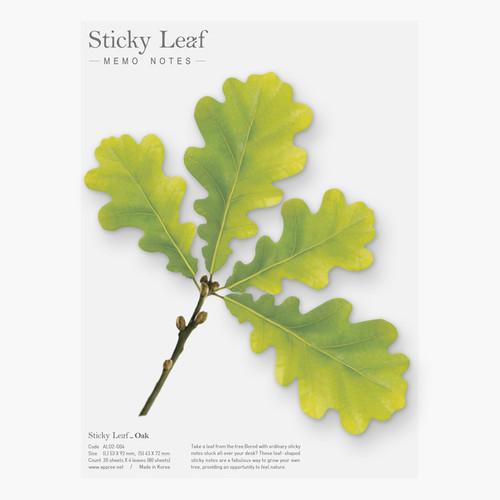 Oak leaf green sticky memo notes Large