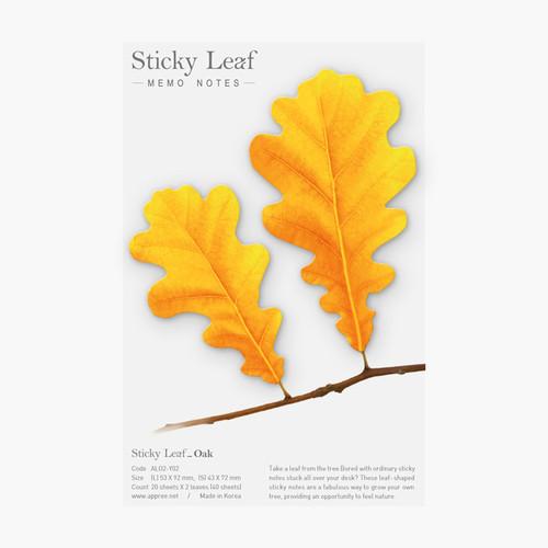 Appree Oak leaf yellow sticky memo notes Medium