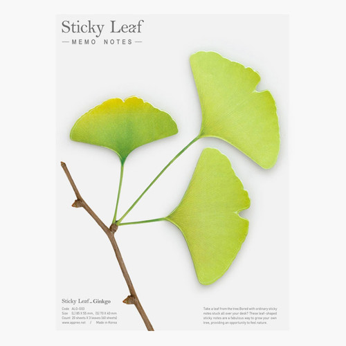 Ginkgo leaf green sticky memo notes Large