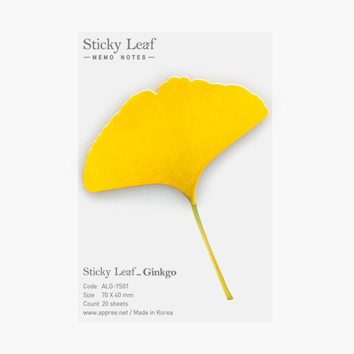 Appree Ginkgo leaf yellow sticky memo notes Small