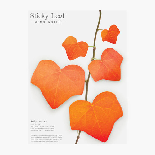 Ivy leaf red sticky memo notes Large