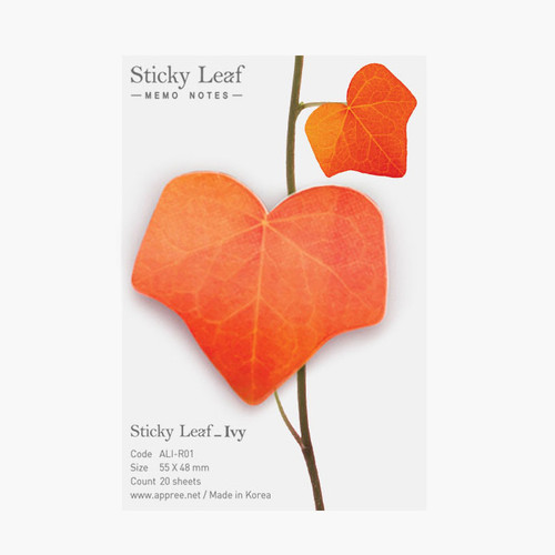 Ivy leaf red sticky memo notes Small