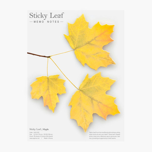 Maple leaf yellow sticky memo notes Large