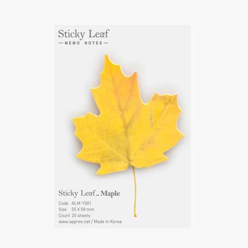 Maple leaf yellow sticky memo notes Small