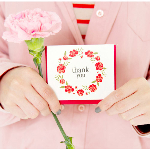 Thank you flower wreath message card