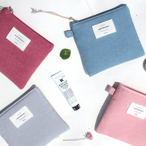 Wish blossom mind small zipper pouch