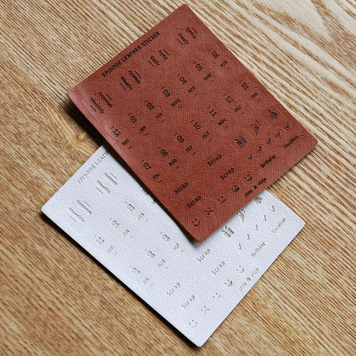 Synthetic leather adhesive index tab sticker set ver.3
