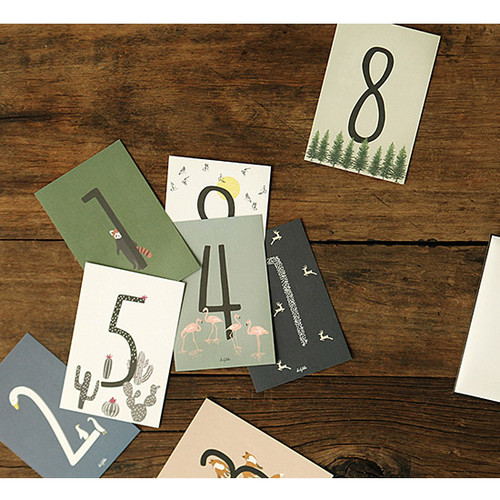 Number illustration postcard