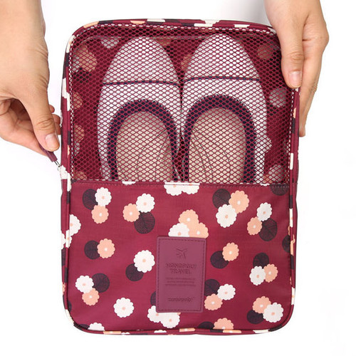 Pattern travel shoes mesh pocket pouch