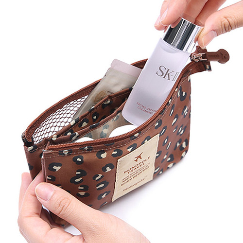 Pattern travel mesh small zipper pouch