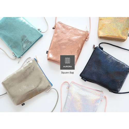 Aurora glitter square crossbody bag