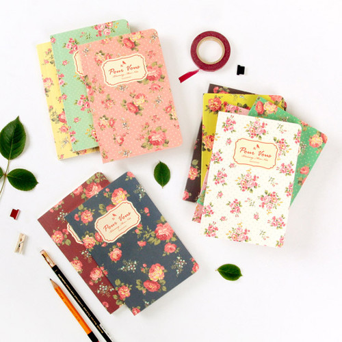 Blooming flower pattern lined notebook small