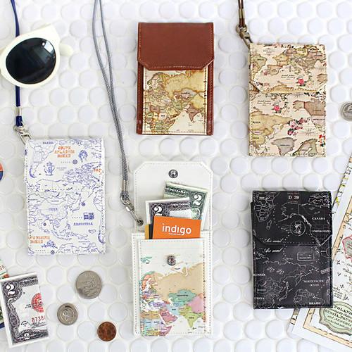 World map pocket card case holder with neck strap