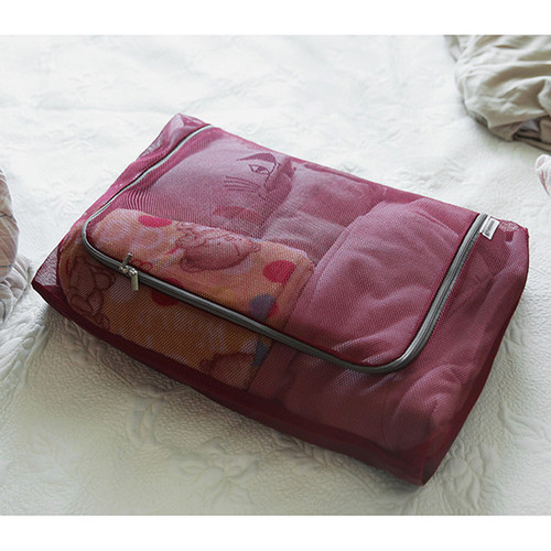 Burgundy - Travelus mesh packing organizer bag XXL ver.2
