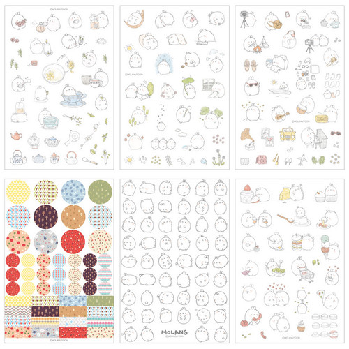 Molang cute deco sticker set ver.2